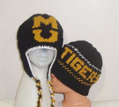 914caaa14a902 Personalized Hand Knit Hat With Mizzou Tigers Mens and Womens Winter Beanie  Hat in Black Gold White Valentines Day Gift For Couple her him