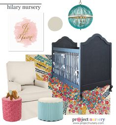 Nursery Design Board inspired by the new @newportcottages Hilary Crib! {click for sources}
