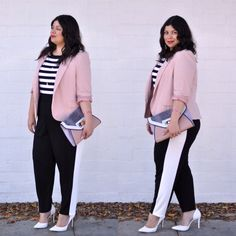 Plus size blush and stripe outfit