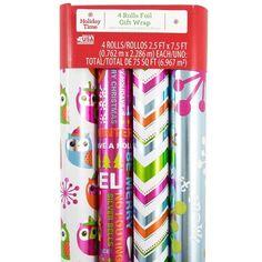 JAM Paper® Design Wrapping Paper Christmas Sets - Fun Design Owl, Silver & Stripe Pattern Pack - 4 Rolls (75 Sq Ft Total) http://www.amazon.com/gp/product/B013RIU5S8/ref=as_li_tl?ie=UTF8&camp=1789&creative=9325&creativeASIN=B013RIU5S8&linkCode=as2&tag=suprmariprod-20&linkId=OWFPFEPVXS2E6JHR