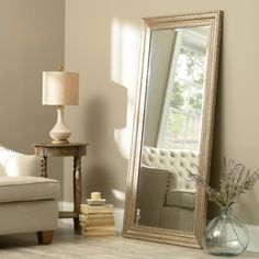 Antiqued Silver Framed Mirror, 32x65 in.  - $79.99