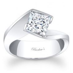 main view of Barkev's Vintage Bypass Princess Cut Solitaire Engagement Ring With A Modern Twist