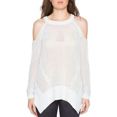 Women's Willow & Clay Cold Shoulder Sweater ($79) ❤ liked on Polyvore featuring tops, sweaters, pearl, layered sweater, cold shoulder tops, sheer sweaters, loose fitting sweaters and white cold shoulder sweater