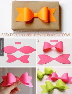 diy paper bow diy crafts craft ideas diy ideas diy crafts crafty easy diy easy craft diy bow craft bow by mavrica Easy Diy Crafts, Cute Crafts, Crafts To Do, Crafts For Kids, Diy Paper, Paper Crafting, Paper Bows, Paper Ribbon, Paper Art