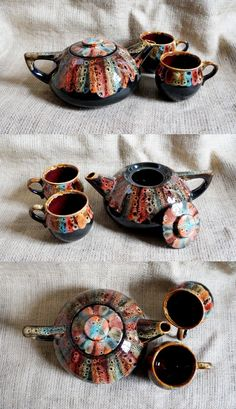 $63.63 Womens gift women #Rainbow ceramic tea set Mother of bride gift ideas Clay #teapotset Tea accessories Cottage decor #Farmhousekitchendecor