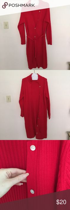 Kate Hill Long Red Cardigan Super cute Cardigan, I'm 5'6 and it lands 2 inches below the knee, has a tie up belt for a feminine silhouette, buttons all the down so it could be used like a dress, rarely worn Kate Hill Sweaters Cardigans