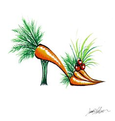 Items similar to Carrot High Heel -Vegetable Fashion Accessory Print on Etsy Fashion Illustration Shoes, Fashion Shoes, Fashion Accessories, Vegetable Prints, Flower Shoes, Fruit Art, Vegan Fashion, Shoe Art, Designer Heels