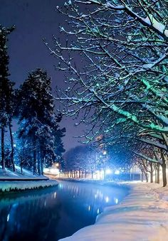 Winter night in Trikala ~ Lithaios river, Thessaly, Greece | by @Amazing_Greece