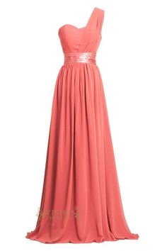 Best Selling designer bridesmaid Dress with One strap and waistband. Neckline:Sweetheart Length:Floor length Details:Ruching Fabric:Elastic Satin,Chiffon Color:Coral,Green,Red,Black,Dark Navy,Purple,Y