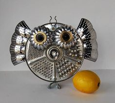 Items similar to Owl Sculpture - Found object assemblage art - steampunk bird - Robot owl with crown - Upcycle Recycle Art on Etsy Steampunk Bird, Steampunk Robots, Bubble Art, Found Object Art, Owl Crafts, Scrap Metal Art, Junk Art, Assemblage Art, Sculpture