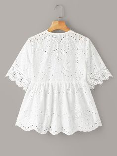 To find out about the Plus Eyelet Embroidery Scallop Trim Blouse at SHEIN, part of our latest Plus Size Blouses ready to shop online today! Plus Size Blouses, Plus Size Tops, Blouse Peplum, African Dress, Women's Fashion Dresses, Blouse Designs, Sleeve Styles, Blouses For Women, Couture