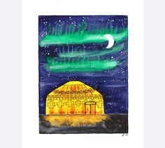 Original watercolor painting Yurt tent Camping by BluePalette