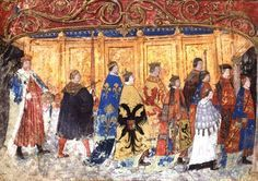 Here is a rarely seen image of Henry VIII's bastard son, Henry Fitzroy, in the Garter procession. He is on the far right while Henry VIII brings up the rear. Fitzroy's red hair can be seen beneath his red and gold cap. The image dates from around 1534.