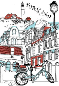 We love city guides from design sponge, How about Portland, Maine! illustration by julia rothman Downtown Portland, Portland Maine, Visit Portland, Sponge City, Travel Posters, Vintage Posters, New England, City Guides, My Love