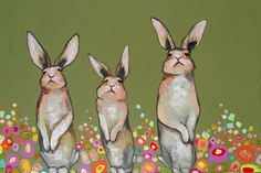 Three Standing Rabbits in Confetti Flowers