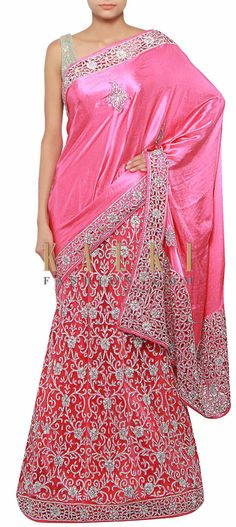 Buy Online from the link below. We ship worldwide (Free Shipping over US$100) http://www.kalkifashion.com/pink-lehenga-saree-adorn-in-stone-embroidery-only-on-kalki.html