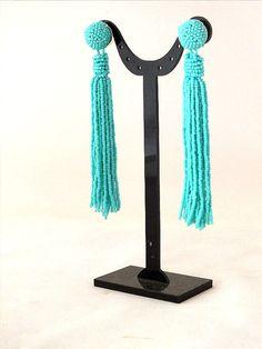 Beaded tassel earrings clip on earrings in by RebekeJewelry
