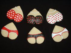 "Lingerie cookies for bachelorette party in the gift bags <3 if I had friends.. my ""bachorette party"" is going to be a joke!! Hahaha"