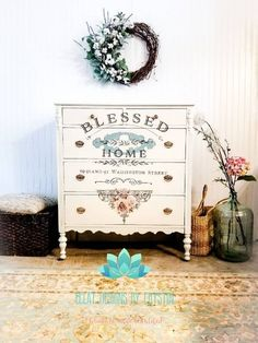 Blessed Home Dresser Diy Garden Furniture, Furniture Decor, Painted Furniture, Repurposed Furniture, Outdoor Furniture, Wall Transfers, Victorian Dressers, Muebles Shabby Chic, Selling Furniture