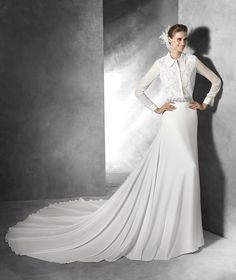 pronovias wedding dress 2016 Pronovias DUERO Style Long Sleeve Lace Shirt Dress [DUERO] - Lace and gauze shirt with shirt collar and long sleeves. In the picture, DUERO body with GUADIANA skirt , recommended combination. Muslim Wedding Gown, Muslim Wedding Dresses, Muslim Brides, 2016 Wedding Dresses, Luxury Wedding Dress, Wedding Attire, Dresses 2016, Party Dresses, Lace Wedding