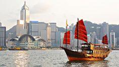 China via private jet: Victoria Harbour, Hong Kong