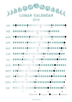 2018 Moon Phases Lunar Calendar I made this one for myself but I found this so lovely I want to share with all of you. I offer you a printable A3 + A4 calendar with the phases of the moon apply for Europe. Moon Calendar can be used for monthly affirmations, moon rituals, activities