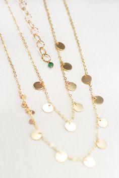 Aonani Sr. necklace - long gold necklace, double strand sequin necklace by kealohajewelry https://www.etsy.com/listing/194975844 http://instagram.com/kealohajewelry