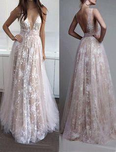 lace long v-neck 2017 prom dress, BD490