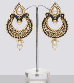 Polki Peacock Indian Earrings - $20