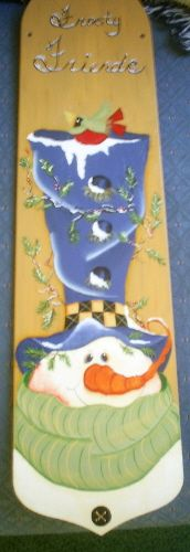 Frosty Friends Ceiling Fan Blade, I recycled this ceiling fan blade with a Renee Mullins design., Holiday Project