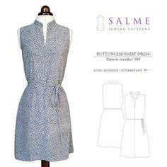 Digital Sewing Pattern - Buttonless Shirt Dress. Nx