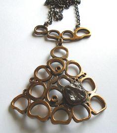 Pentti Sarpaneva (FI), vintage oversized modernist bronze necklace with a smoky quartz stone. #finland   finlandjewelry.com #forsale