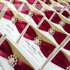 Red and Gold Wedding Stationery   The Cinderella Collection - Luxury Place Cards   Featuring gold glitter paper, red burgundy maroon ribbon and gold pearl and diamante embellishment   Enchanting luxury handmade wedding invitations and stationery #byenchanting