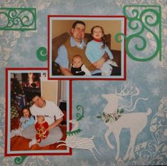 Baby Album 1 Inspiration: Christmas Eve.  The scroll border and corner are from Cricut's Storybook and the reindeer are from Joys of the Season. I also used a Fiskars border punch. (R)