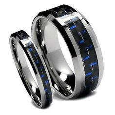 top value jewelry matching tungsten wedding band set his her black and blue