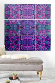 FUTURE FLORAL BLUE Wood Wall Mural