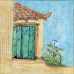 The White Lily - an original piece of canvas art by Gill Tomlinson. The White Lily in question was growing out of the concrete beside this little store room attached to a village cafe in the south Peloponnese, Greece. It started life as a sketchbook watercolour and later became this mixed media canvas with acrylics and collage. Life Sketch, White Lilies, Mixed Media Canvas, Watercolor Paper, Acrylics, Giclee Print, Concrete, Greece, Canvas Art