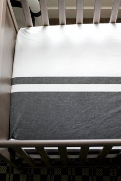 Fitted Crib Sheet Navy Blue Stripe & White by weelittlenuggs, $35.00