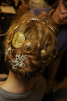 A backstage look at the Dolce&Gabbana Womens Summer 2014 fashion show