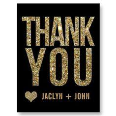 Black & Gold Glitter Wedding Thank You Postcard