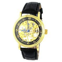 MapofBeauty Einfach und Exquisit Gold teilweise Ausgehöhlt Kunstleder Manuelle Mechanik Uhr (Schwarz Uhrenarmband & Schwarz Zifferblatt) - http://uhr.haus/mapofbeauty/mapofbeauty-einfach-und-exquisit-gold-teilweise-5