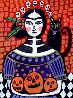 50 off Frida Kahlo Black Cat Day of the Dead por HeatherGallerArt