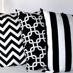 Black and White Pillow Covers - Three 18x18 inch Striped Chain Chevron Decorative Cushion Covers - Coordinating Set