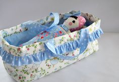 Glenis from Gee's Projects designed this carrycot to fit her toys and dolls.  It's easy to make a comfy spot for your next softie; the carrycot and doll together would make a special gift!  Children appreciate having a special place to tuck their dolls and softies in, and parents love the extra play value.  Have fun with the free tutorial, and explore the Gee's Projects shop for more from Glenis.  We're partial to the Timi Tabby Kitty Cat and Kerah Rabbit...