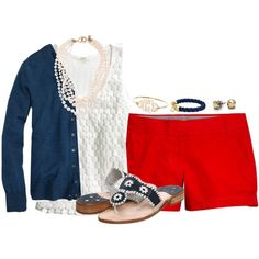 Red, White, and Blue by classycathleen on Polyvore featuring J.Crew, Jack Rogers, Kate Spade and C. Wonder