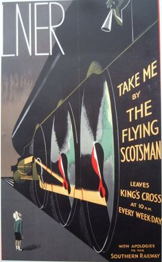 coololdthings: The Flying Scotsman travel poster courtesy of Vintage Advertising and Poster Art Old Posters, Train Posters, Retro Poster, Poster Art, Railway Posters, Kunst Poster, Art Deco Posters, Vintage Travel Posters, Poster Prints
