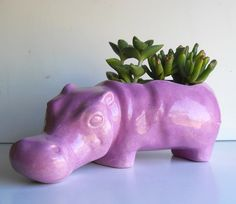 Ceramic Hippo Planter Vintage Design Lavender by fruitflypie, $65.00