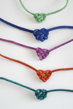 Simple heart friendship bracelets for my day camp kids. I already know how to make these, double plus!!!