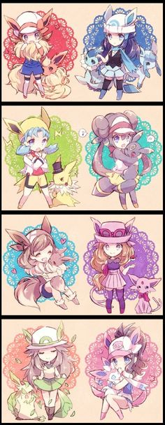 Flareon and eevee evolutions with Pokemon girls Pokemon Mew, Pokemon Eeveelutions, Pokemon Fan Art, Cute Pokemon, Pokemon Rosa, Eevee Evolutions, Digimon, Evolution Pokemon, Chibi Manga