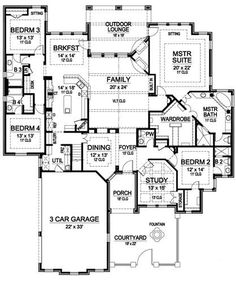 1000 images about floor plans on pinterest floor plans for Ranch floor plans with bonus room